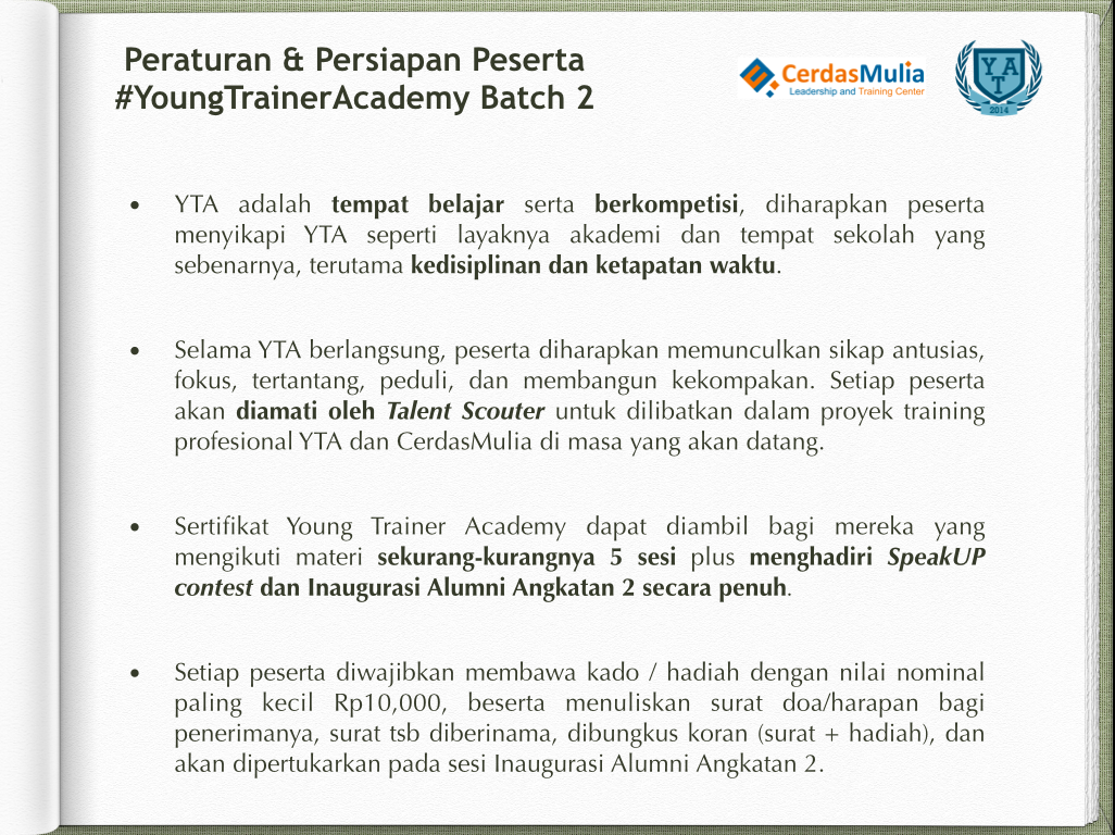 Peraturan Peserta Young Trainer Academy Batch 2