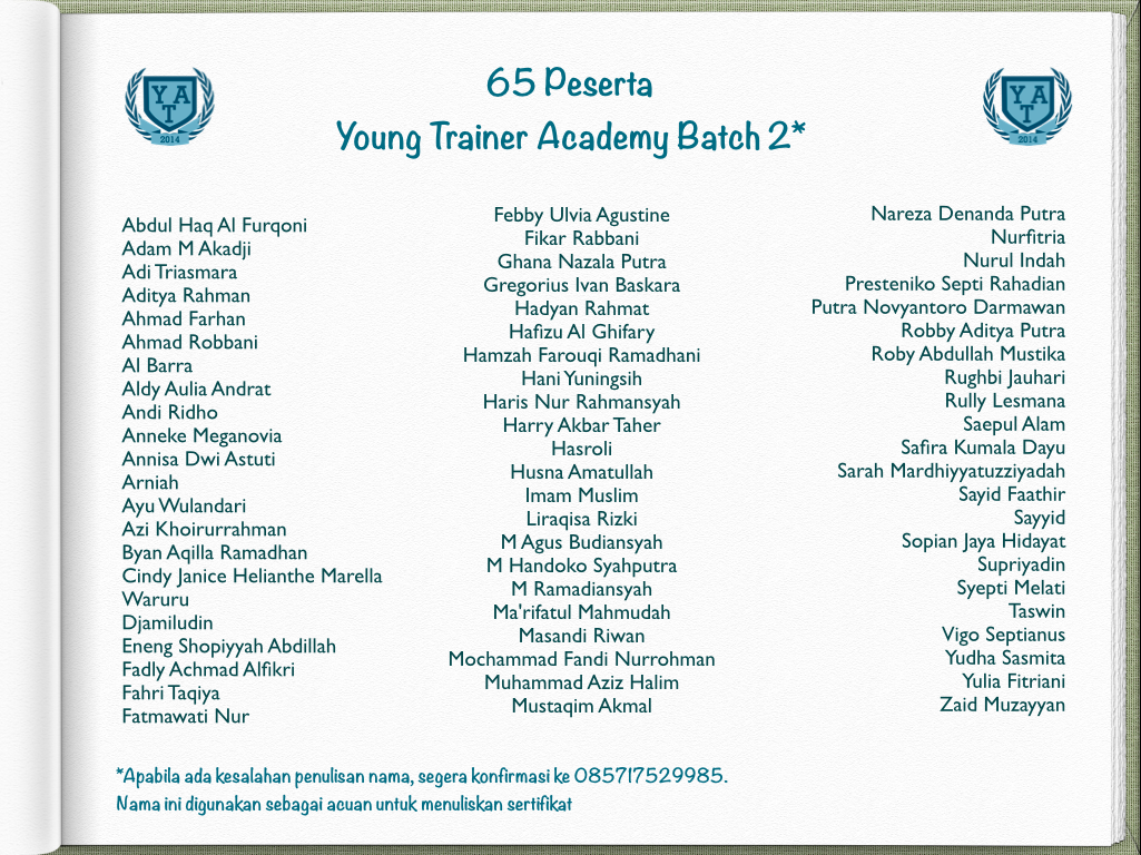 Daftar Peserta Young Trainer Academy Batch 2