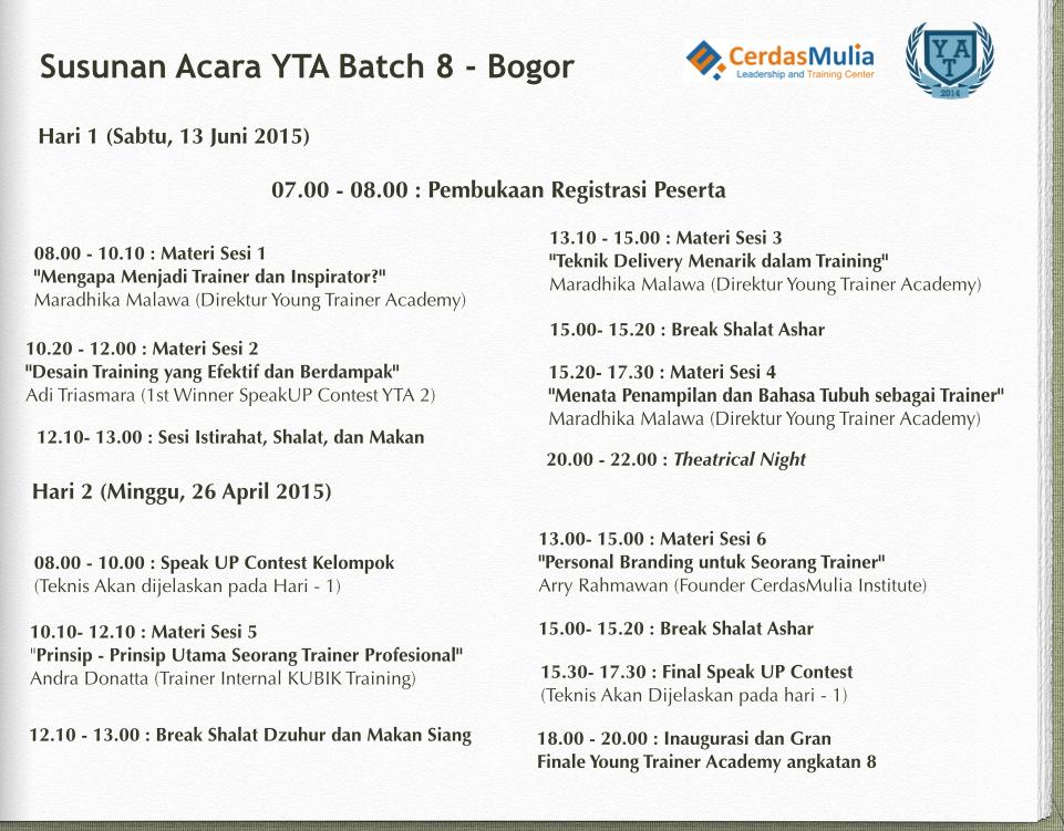 Susunan Acara Batch 8 - Bogor