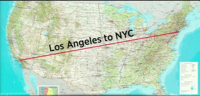 Jarak dari Los Angeles ke New York sepanjang 2,448 Miles