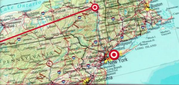 Perbedaan jarak tujuan apabila pesawat bergeser 1 derajat selama perjalanan